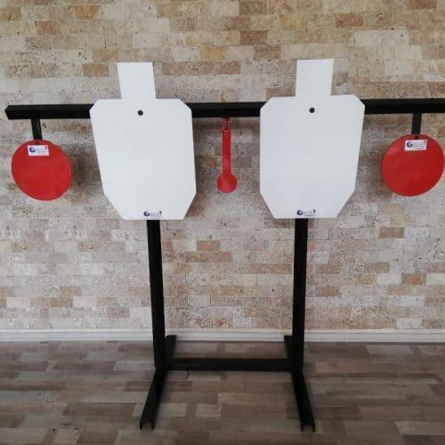 IDPA 1/2 Boy ve Gong Stand Hedefler – 5/10 Ahşap Direkli Çift Hedef Stand.